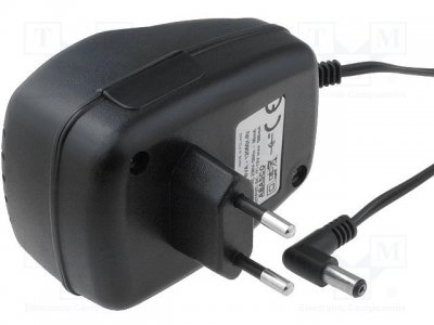 AC adapter 12V 0...0.5A, 5.5x2.1 Stab. (-) i cent